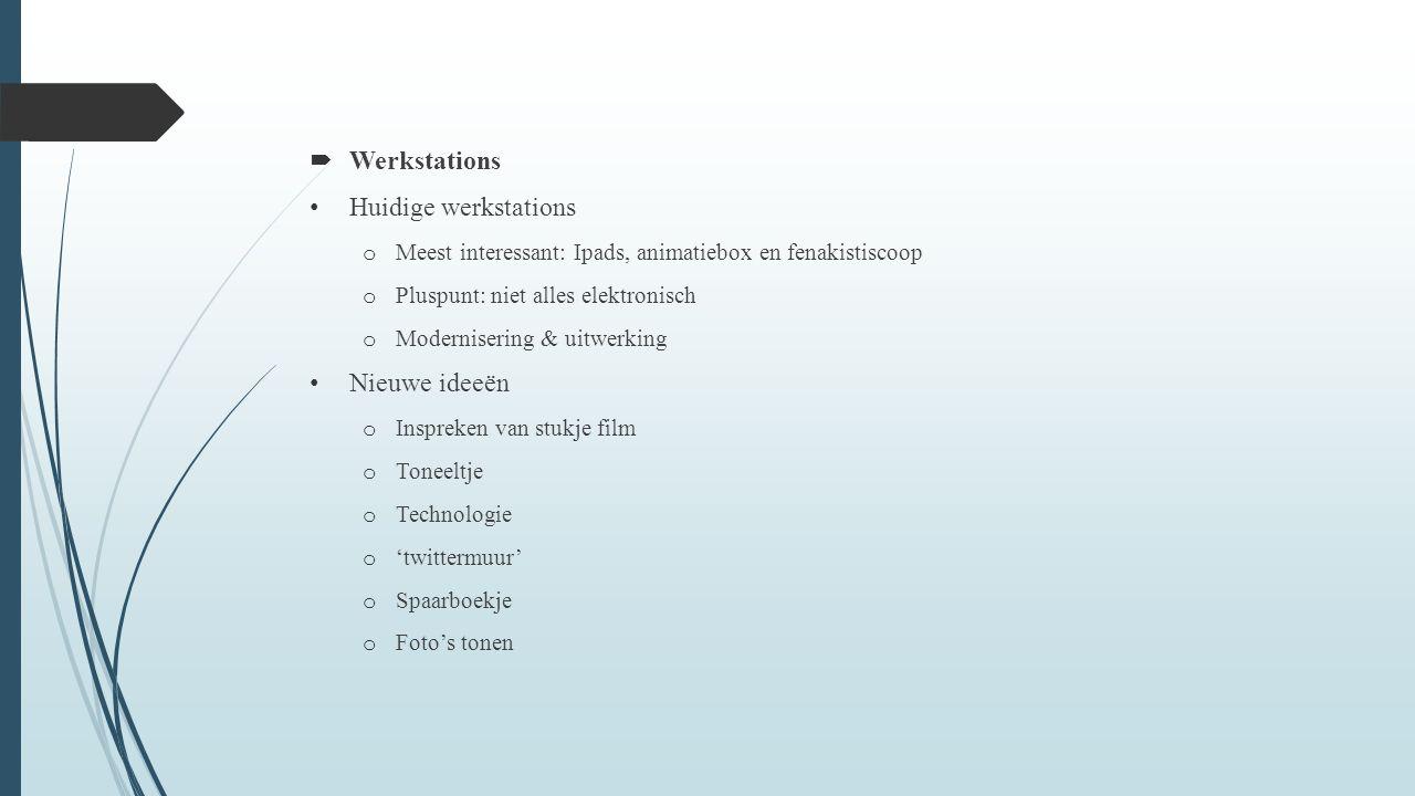  Workshop Vóór of na de film o 4 scholen: voor en na de film o Workshop even lang als film o Voordelen Duur o Afhankelijk van de leeftijd o Andere voorstellen o Pauze tussen workshop en film o Beperkte duur per werkstation