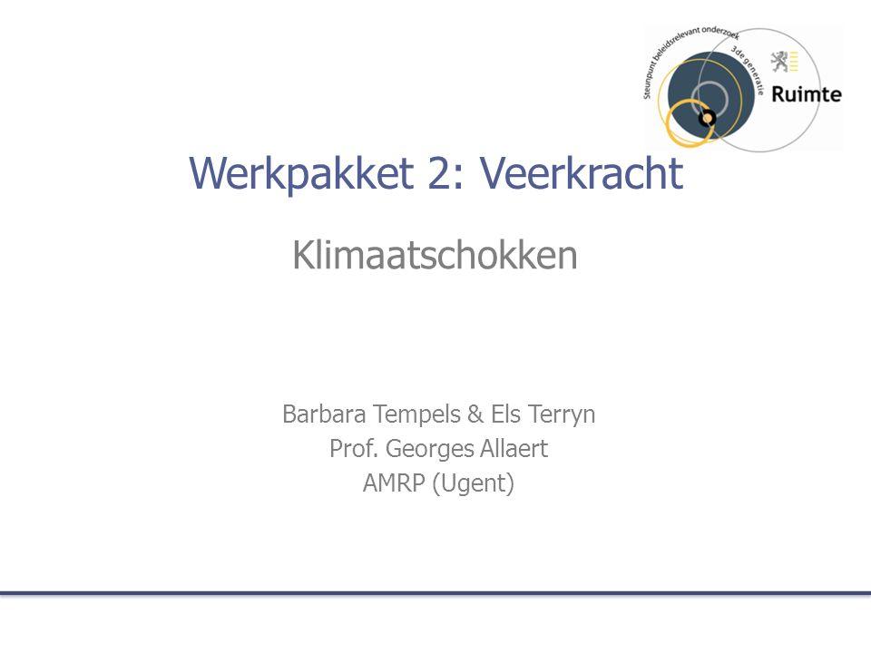 Werkpakket 2: Veerkracht Klimaatschokken Barbara Tempels & Els Terryn Prof.