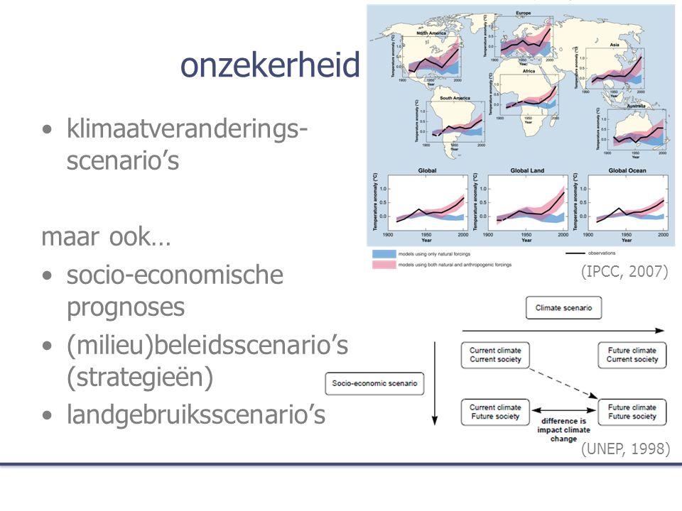 onzekerheid klimaatveranderings- scenario's maar ook… socio-economische prognoses (milieu)beleidsscenario's (strategieën) landgebruiksscenario's (UNEP