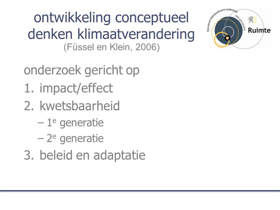 ontwikkeling conceptueel denken klimaatverandering onderzoek gericht op 1.impact/effect 2.kwetsbaarheid –1 e generatie –2 e generatie 3.beleid en adap