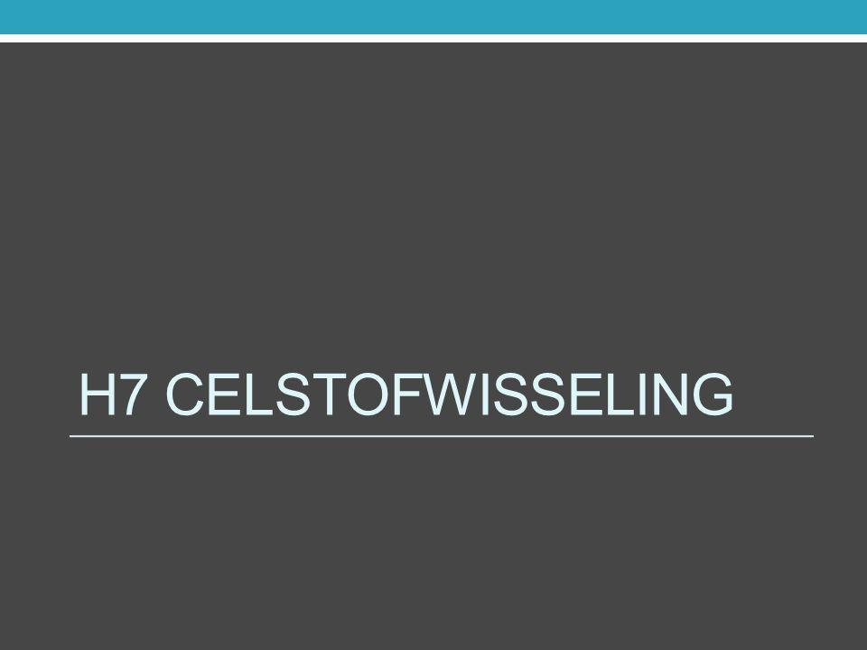 Voortgangstoets 4.1 Hoofdstuk 7 Celstofwisseling 7.1 t/m 7.4 7.6 t/m 7.8 Het totaal aan chemische reacties dat zich afspeelt in de cel wordt celstofwisseling genoemd = metabolisme.