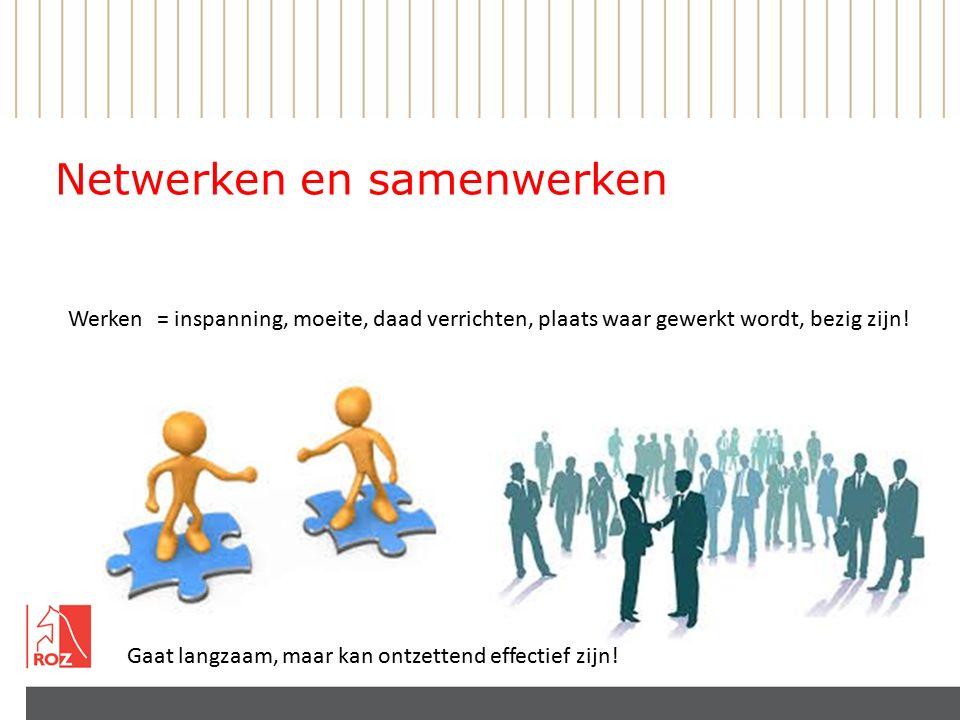 Netwerken en samenwerken Werken= inspanning, moeite, daad verrichten, plaats waar gewerkt wordt, bezig zijn.