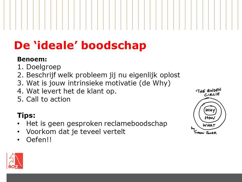 De 'ideale' boodschap Benoem: 1.Doelgroep 2.Beschrijf welk probleem jij nu eigenlijk oplost 3.Wat is jouw intrinsieke motivatie (de Why) 4.Wat levert het de klant op.