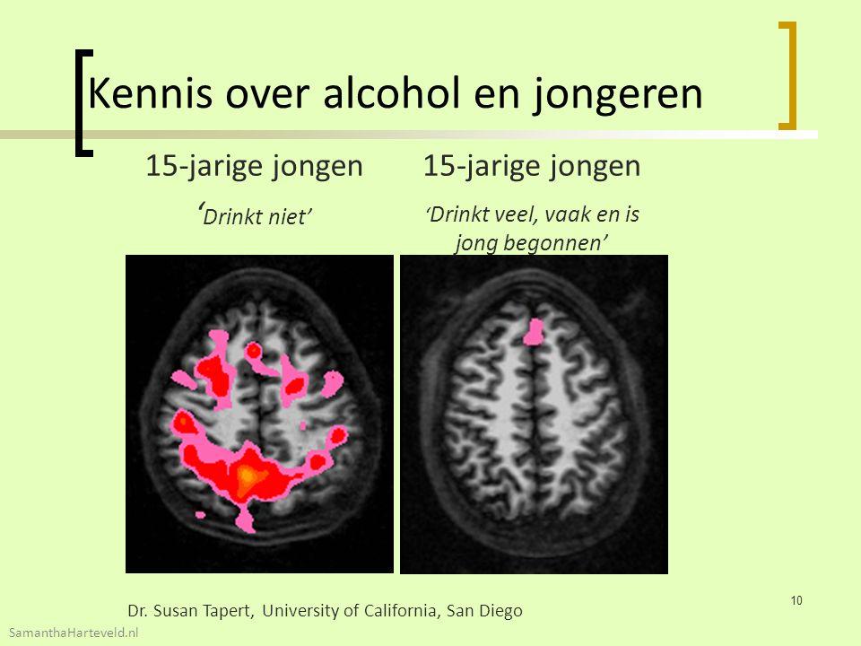 15-jarige jongen ' Drinkt niet' 15-jarige jongen ' Drinkt veel, vaak en is jong begonnen' Dr. Susan Tapert, University of California, San Diego Kennis
