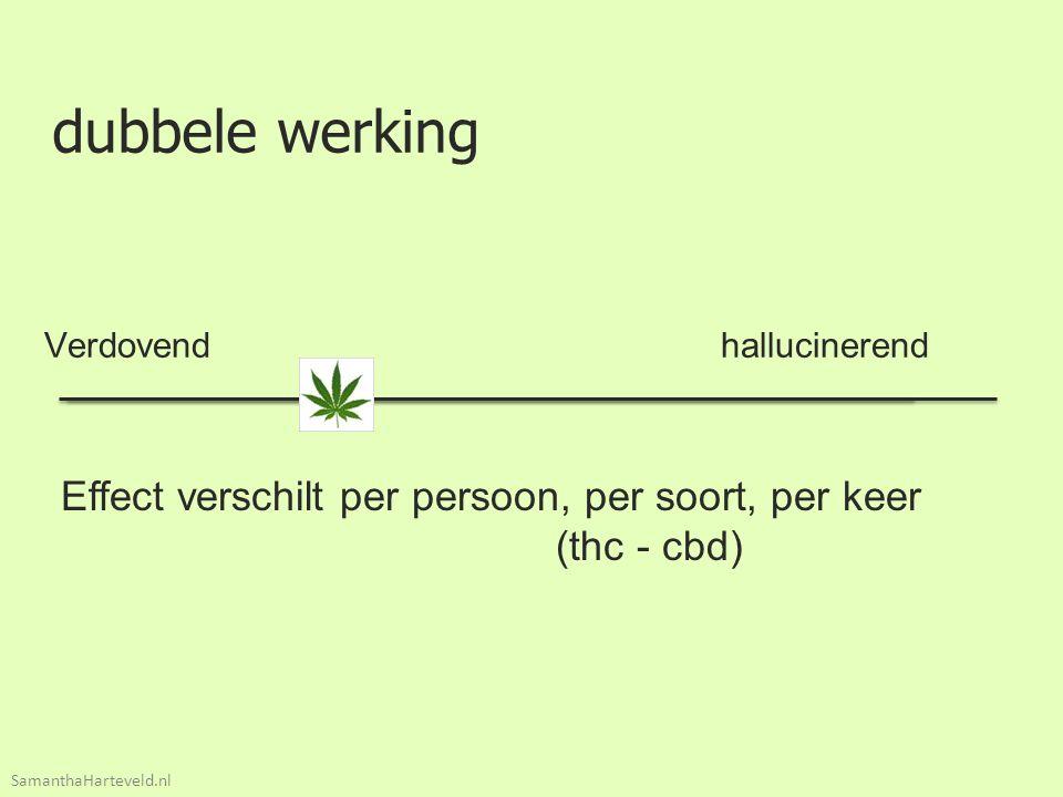 dubbele werking Verdovend hallucinerend Effect verschilt per persoon, per soort, per keer (thc - cbd) SamanthaHarteveld.nl