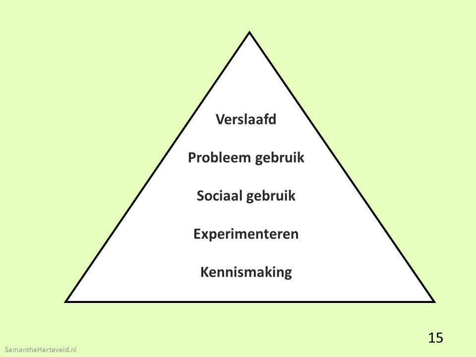 Verslaafd Probleem gebruik Sociaal gebruik Experimenteren Kennismaking 15 SamanthaHarteveld.nl