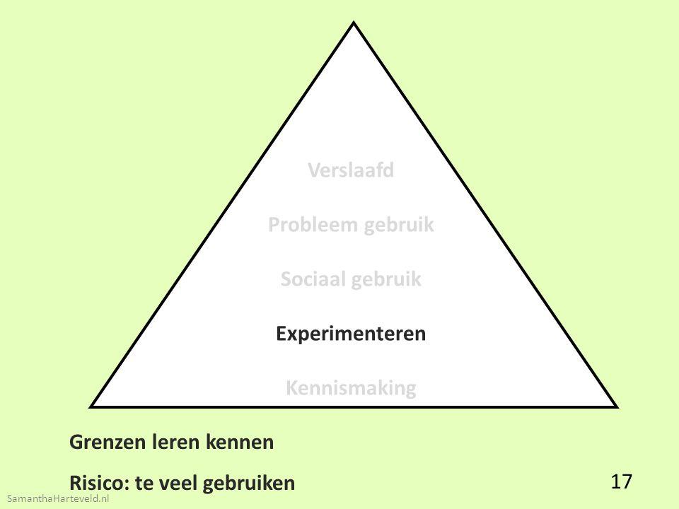 Verslaafd Probleem gebruik Sociaal gebruik Experimenteren Kennismaking Grenzen leren kennen Risico: te veel gebruiken 17 SamanthaHarteveld.nl
