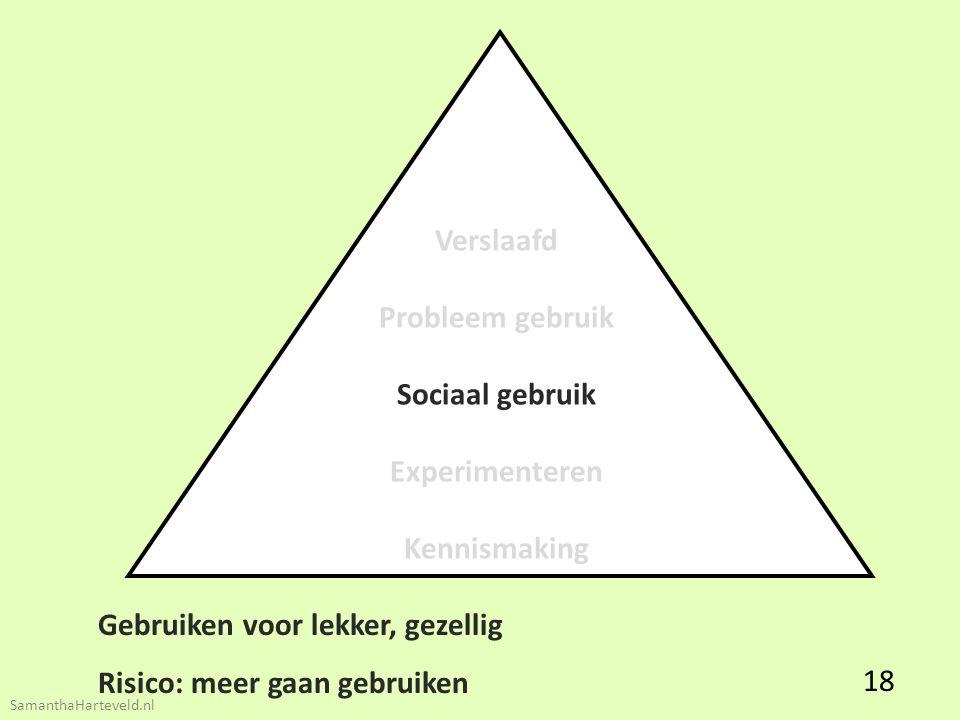 Verslaafd Probleem gebruik Sociaal gebruik Experimenteren Kennismaking Gebruiken voor lekker, gezellig Risico: meer gaan gebruiken 18 SamanthaHarteveld.nl