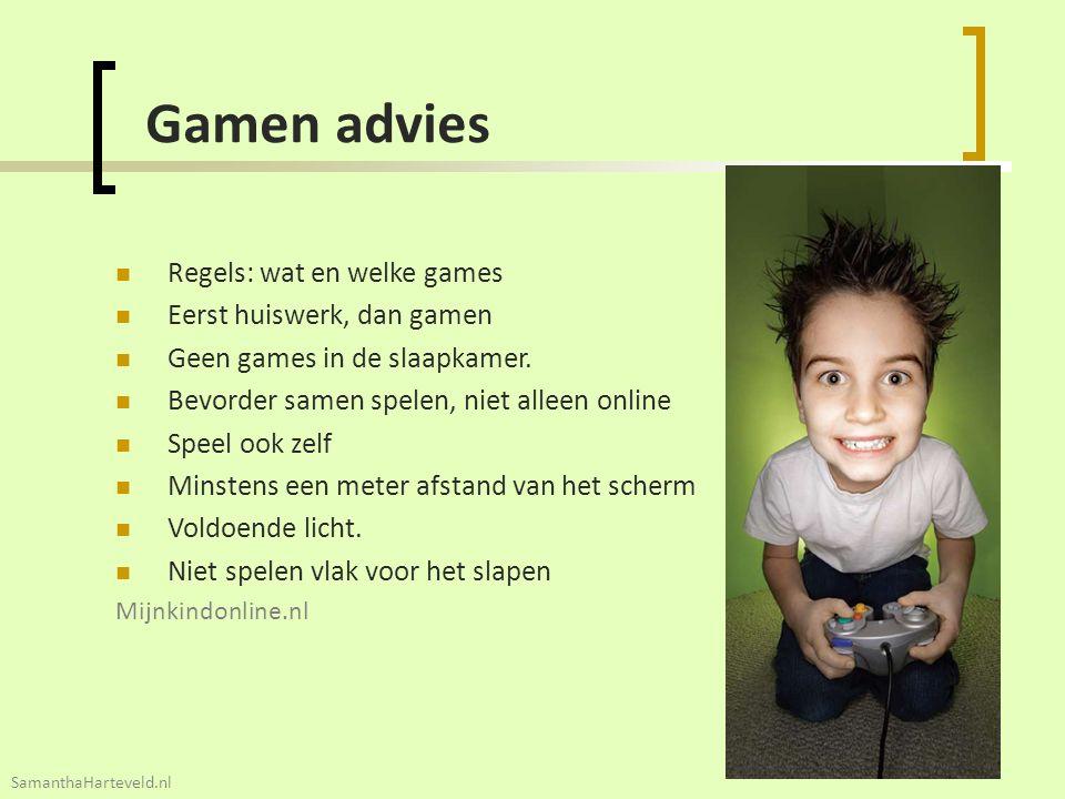 26 Gamen advies Regels: wat en welke games Eerst huiswerk, dan gamen Geen games in de slaapkamer. Bevorder samen spelen, niet alleen online Speel ook