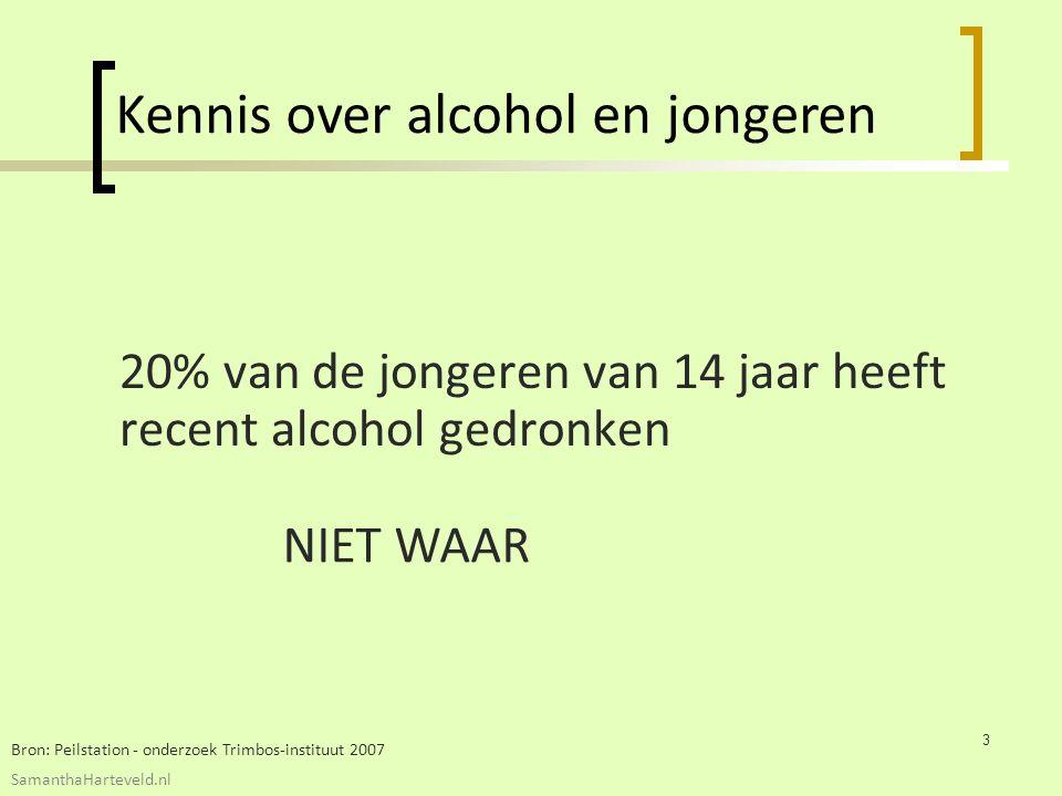 20% van de jongeren van 14 jaar heeft recent alcohol gedronken Kennis over alcohol en jongeren Bron: Peilstation - onderzoek Trimbos-instituut 2007 NIET WAAR 3 SamanthaHarteveld.nl