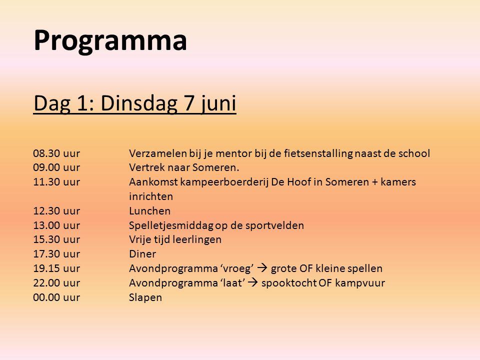 Programma Dag 1: Dinsdag 7 juni 08.30 uurVerzamelen bij je mentor bij de fietsenstalling naast de school 09.00 uurVertrek naar Someren.