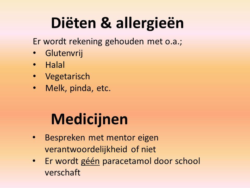 Diëten & allergieën Er wordt rekening gehouden met o.a.; Glutenvrij Halal Vegetarisch Melk, pinda, etc.