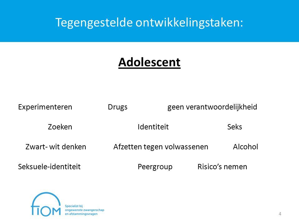 Tegengestelde ontwikkelingstaken: 4 Adolescent ExperimenterenDrugsgeen verantwoordelijkheid ZoekenIdentiteitSeks Zwart- wit denken Afzetten tegen volwassenen Alcohol Seksuele-identiteitPeergroupRisico's nemen