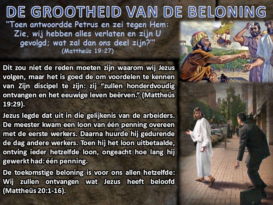 Toen antwoordde Petrus en zei tegen Hem: Zie, wij hebben alles verlaten en zijn U gevolgd; wat zal dan ons deel zijn ' (Mattheüs 19:27)