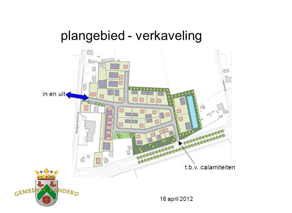 16 april 2012 plangebied – principe verkaveling wonen en werken