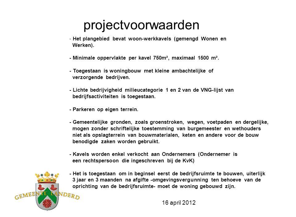 16 april 2012 Grondprijs Wonen-Werken bedraagt €198,- euro/m2 excl.