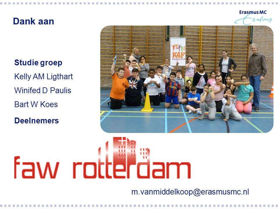 m.vanmiddelkoop@erasmusmc.nl Studie groep Kelly AM Ligthart Winifed D Paulis Bart W Koes Deelnemers Dank aan