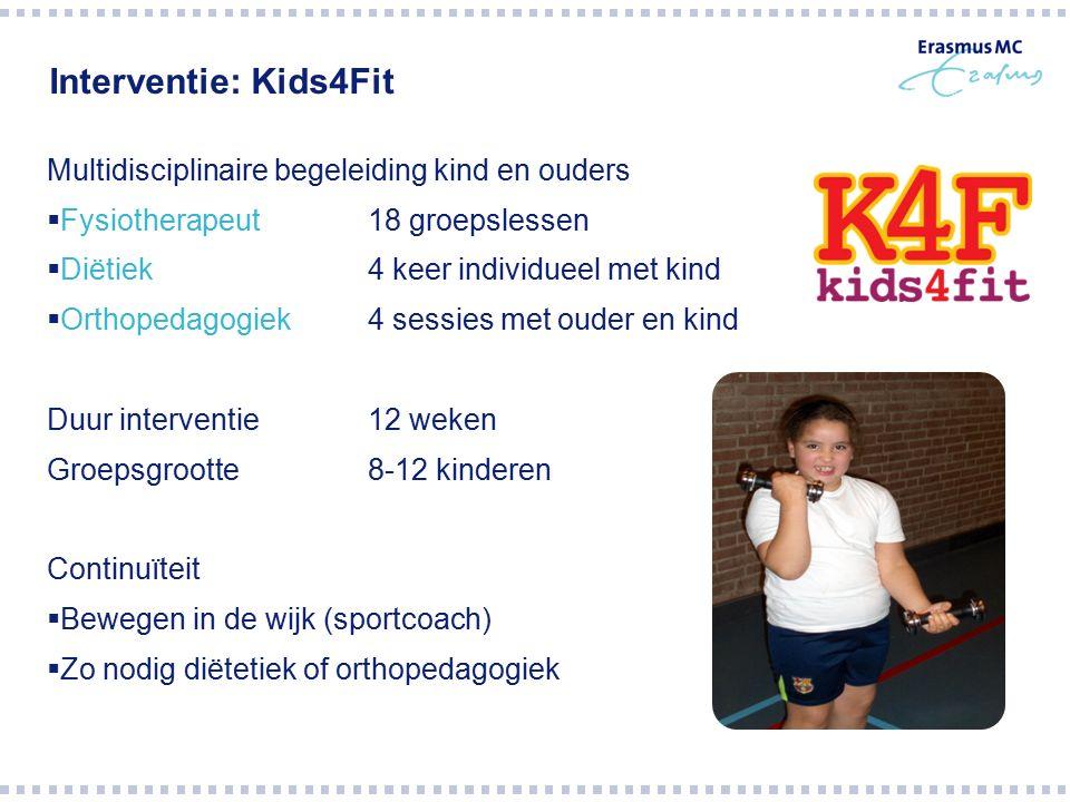 Interventie: Kids4Fit Multidisciplinaire begeleiding kind en ouders  Fysiotherapeut 18 groepslessen  Diëtiek 4 keer individueel met kind  Orthopeda