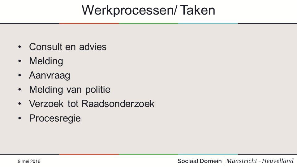 Werkprocessen/ Taken Consult en advies Melding Aanvraag Melding van politie Verzoek tot Raadsonderzoek Procesregie 9 mei 2016