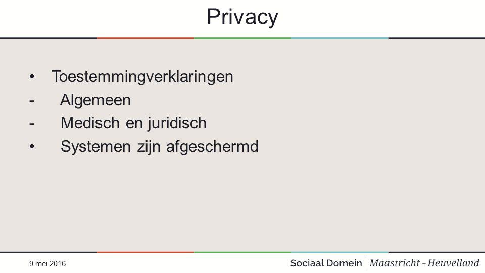 Privacy Toestemmingverklaringen - Algemeen - Medisch en juridisch Systemen zijn afgeschermd 9 mei 2016