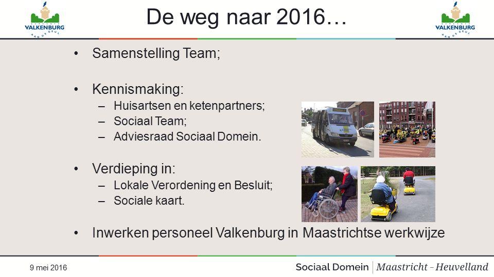 De weg naar 2016… Samenstelling Team; Kennismaking: –Huisartsen en ketenpartners; –Sociaal Team; –Adviesraad Sociaal Domein. Verdieping in: –Lokale Ve