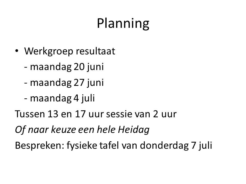 Planning Werkgroep resultaat - maandag 20 juni - maandag 27 juni - maandag 4 juli Tussen 13 en 17 uur sessie van 2 uur Of naar keuze een hele Heidag Bespreken: fysieke tafel van donderdag 7 juli