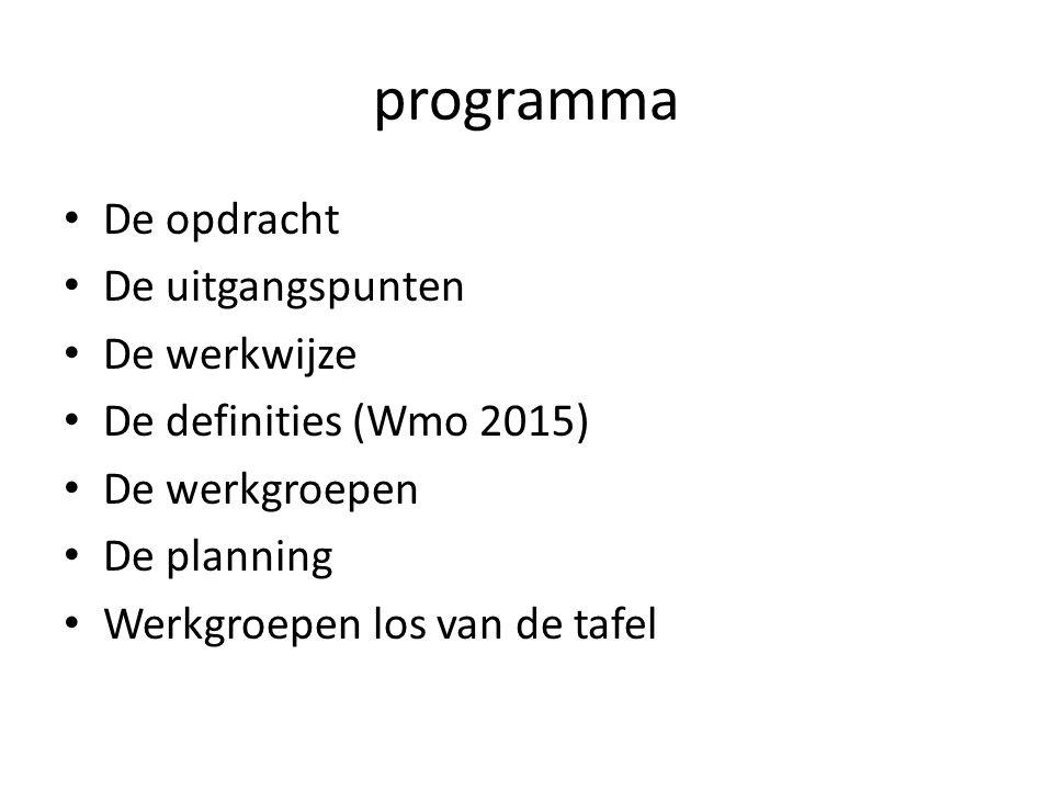 programma De opdracht De uitgangspunten De werkwijze De definities (Wmo 2015) De werkgroepen De planning Werkgroepen los van de tafel