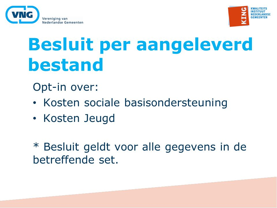 Besluit per aangeleverd bestand Opt-in over: Kosten sociale basisondersteuning Kosten Jeugd * Besluit geldt voor alle gegevens in de betreffende set.