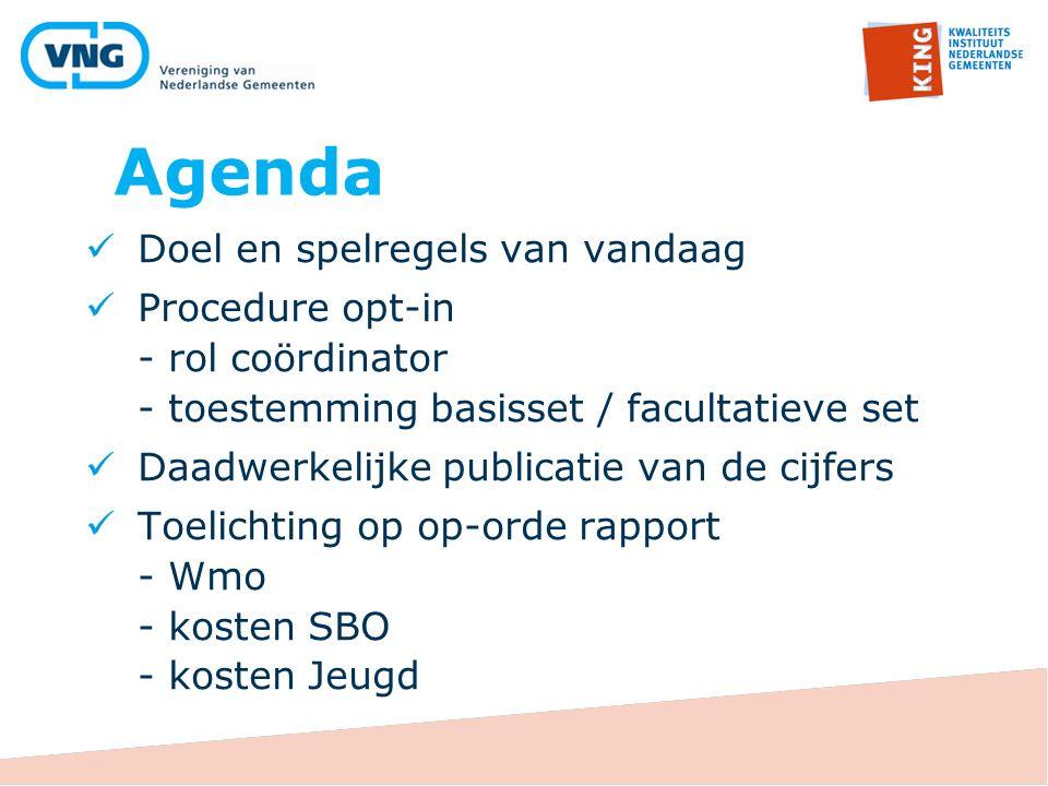Agenda Doel en spelregels van vandaag Procedure opt-in - rol coördinator - toestemming basisset / facultatieve set Daadwerkelijke publicatie van de ci