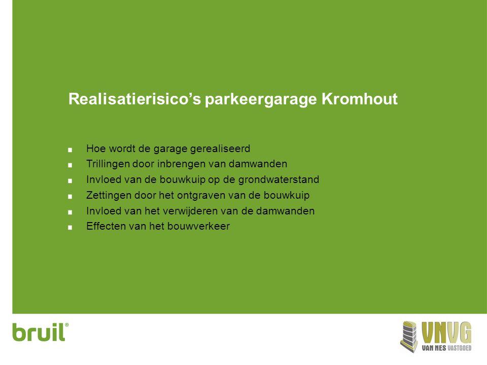 Realisatierisico's parkeergarage Kromhout Hoe wordt de garage gerealiseerd Trillingen door inbrengen van damwanden Invloed van de bouwkuip op de grond