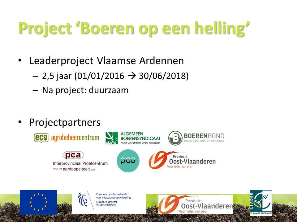 Project 'Boeren op een helling' Leaderproject Vlaamse Ardennen – 2,5 jaar (01/01/2016  30/06/2018) – Na project: duurzaam Projectpartners