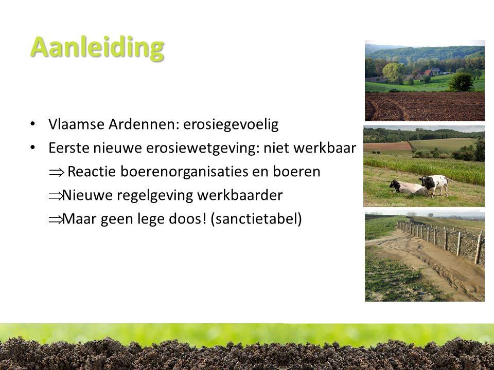 Aanleiding Vlaamse Ardennen: erosiegevoelig Eerste nieuwe erosiewetgeving: niet werkbaar  Reactie boerenorganisaties en boeren  Nieuwe regelgeving werkbaarder  Maar geen lege doos.