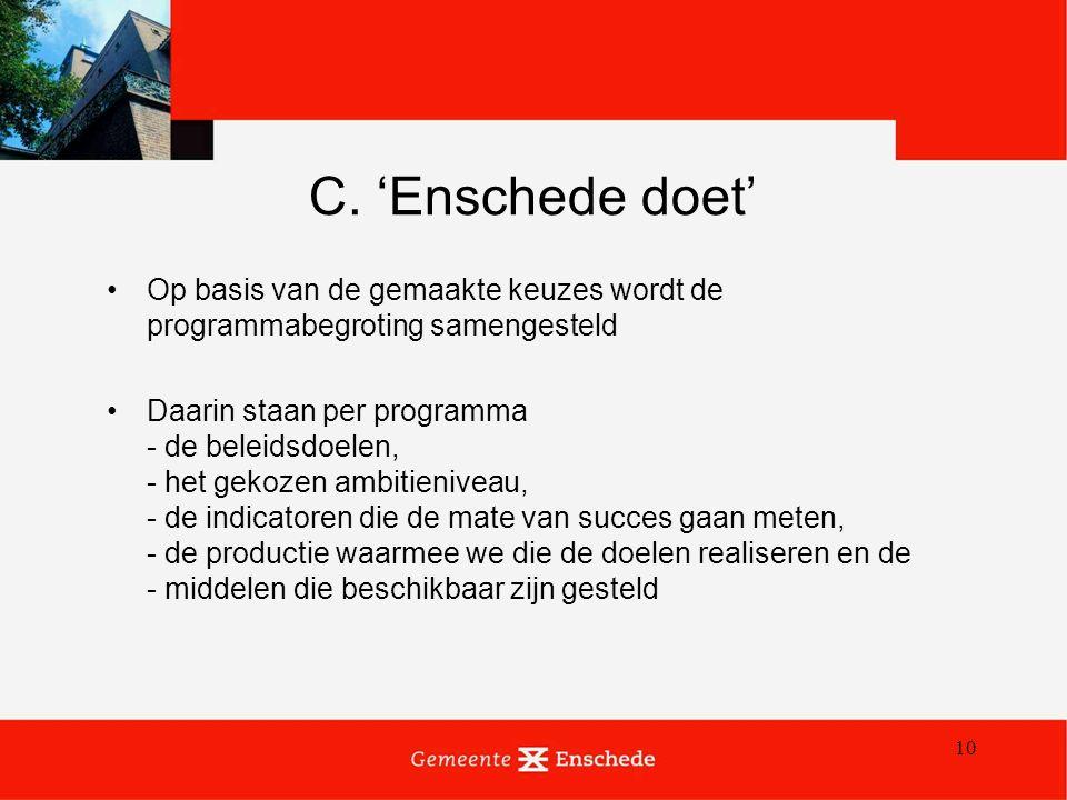 10 C. 'Enschede doet' Op basis van de gemaakte keuzes wordt de programmabegroting samengesteld Daarin staan per programma - de beleidsdoelen, - het ge