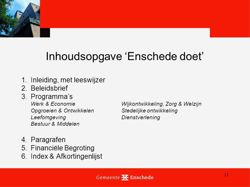 11 Inhoudsopgave 'Enschede doet' 1.Inleiding, met leeswijzer 2.Beleidsbrief 3.Programma's Werk & EconomieWijkontwikkeling, Zorg & Welzijn Opgroeien &