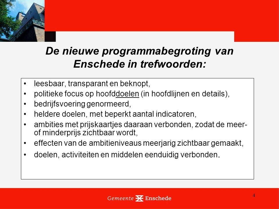 4 De nieuwe programmabegroting van Enschede in trefwoorden: leesbaar, transparant en beknopt, politieke focus op hoofddoelen (in hoofdlijnen en detail