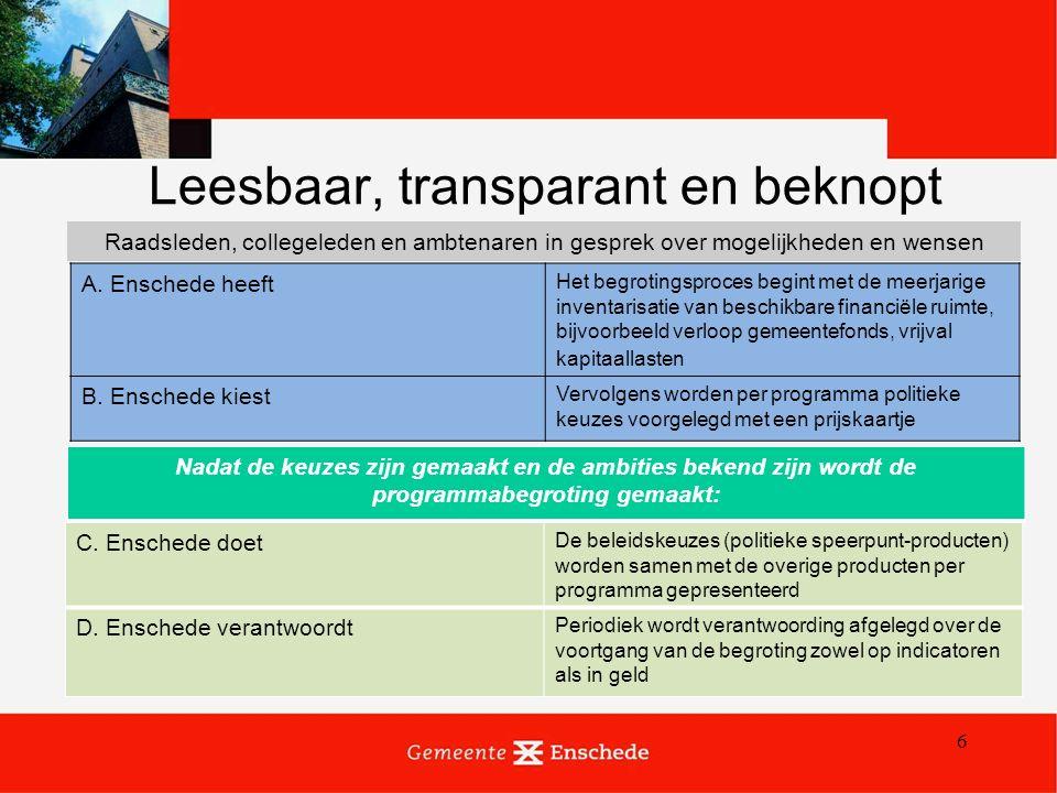 6 Leesbaar, transparant en beknopt A. Enschede heeft Het begrotingsproces begint met de meerjarige inventarisatie van beschikbare financiële ruimte, b
