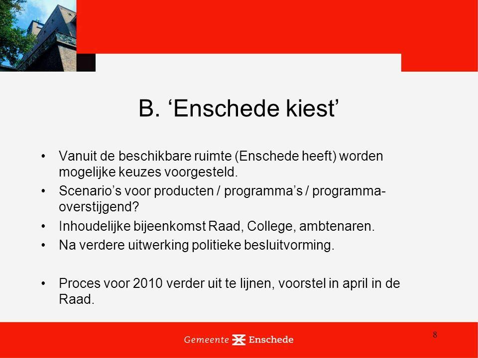 8 B. 'Enschede kiest' Vanuit de beschikbare ruimte (Enschede heeft) worden mogelijke keuzes voorgesteld. Scenario's voor producten / programma's / pro