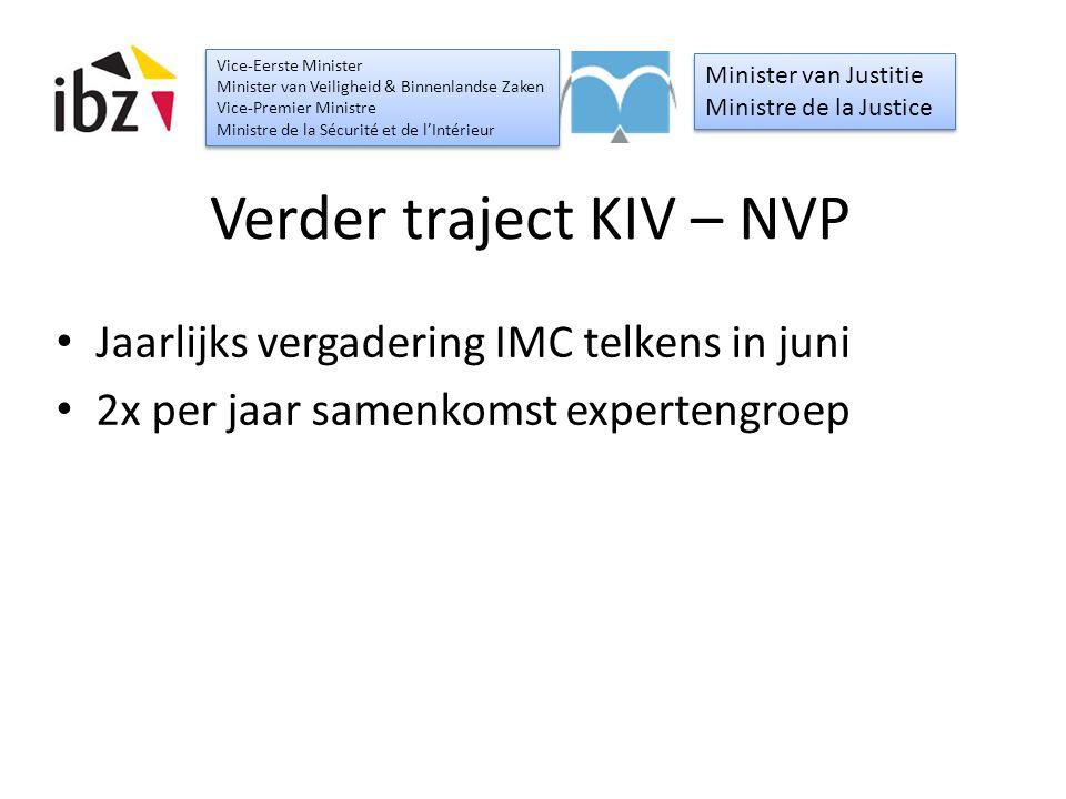 Verder traject KIV – NVP Jaarlijks vergadering IMC telkens in juni 2x per jaar samenkomst expertengroep Minister van Justitie Ministre de la Justice M
