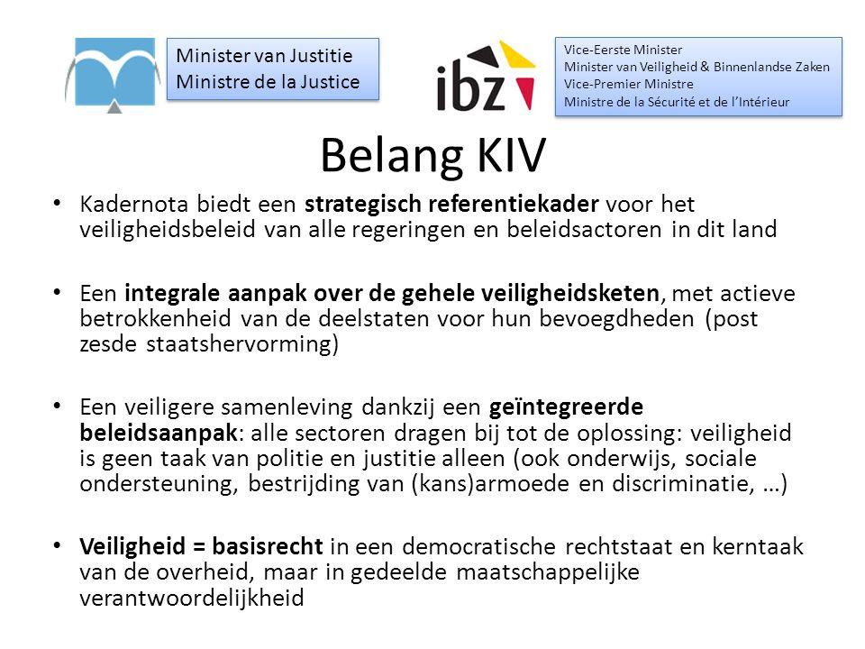 Belang KIV Kadernota biedt een strategisch referentiekader voor het veiligheidsbeleid van alle regeringen en beleidsactoren in dit land Een integrale