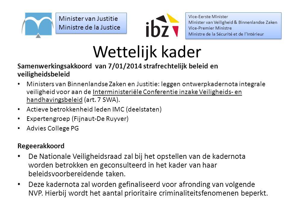 Wettelijk kader Samenwerkingsakkoord van 7/01/2014 strafrechtelijk beleid en veiligheidsbeleid Ministers van Binnenlandse Zaken en Justitie: leggen on