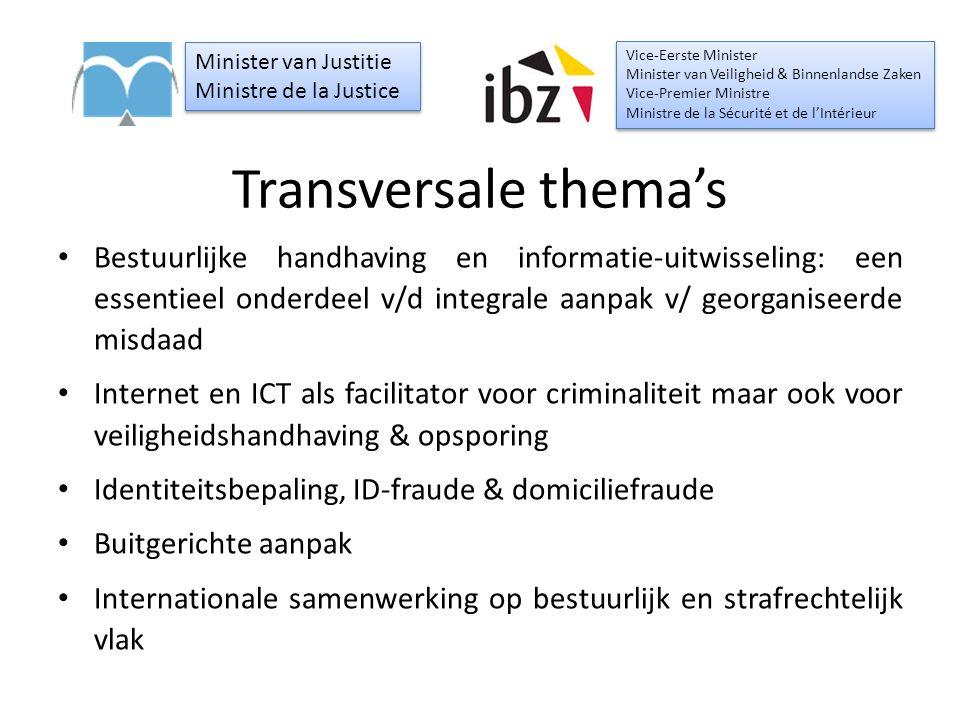 Transversale thema's Bestuurlijke handhaving en informatie-uitwisseling: een essentieel onderdeel v/d integrale aanpak v/ georganiseerde misdaad Inter