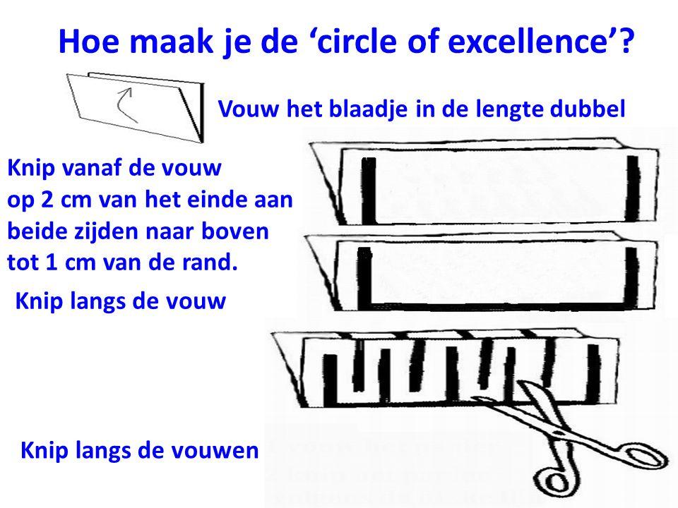 Hoe maak je de 'circle of excellence'? Vouw het blaadje in de lengte dubbel Knip vanaf de vouw op 2 cm van het einde aan beide zijden naar boven tot 1