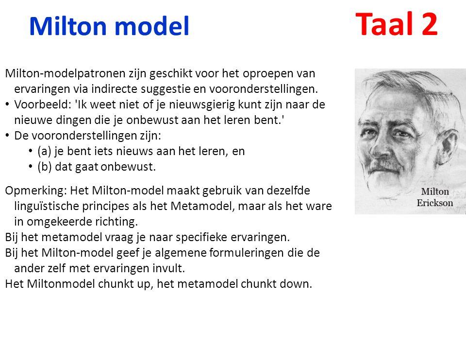 Milton model Milton-modelpatronen zijn geschikt voor het oproepen van ervaringen via indirecte suggestie en vooronderstellingen. Voorbeeld: 'Ik weet n