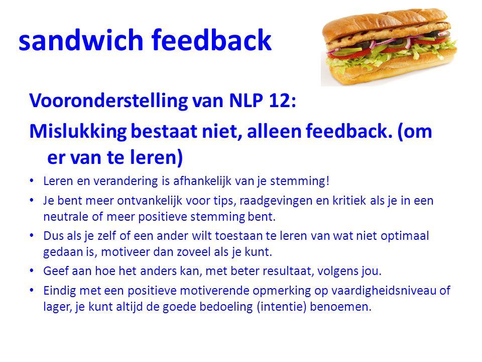 Vooronderstelling van NLP 12: Mislukking bestaat niet, alleen feedback. (om er van te leren) Leren en verandering is afhankelijk van je stemming! Je b