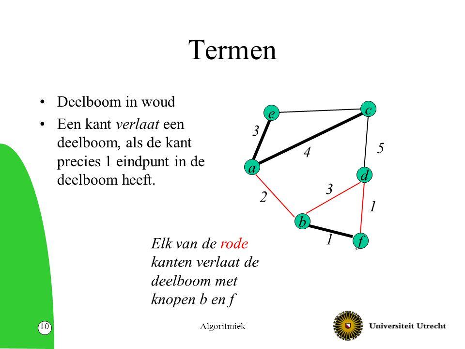 Algoritmiek10 Termen Deelboom in woud Een kant verlaat een deelboom, als de kant precies 1 eindpunt in de deelboom heeft.