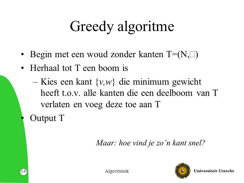 Algoritmiek14 Greedy algoritme Begin met een woud zonder kanten T=(N,  ) Herhaal tot T een boom is –Kies een kant {v,w} die minimum gewicht heeft t.o.v.