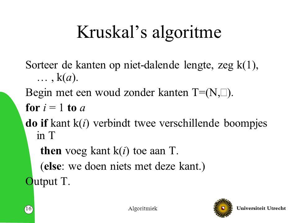 Algoritmiek16 Kruskal's algoritme Sorteer de kanten op niet-dalende lengte, zeg k(1), …, k(a).