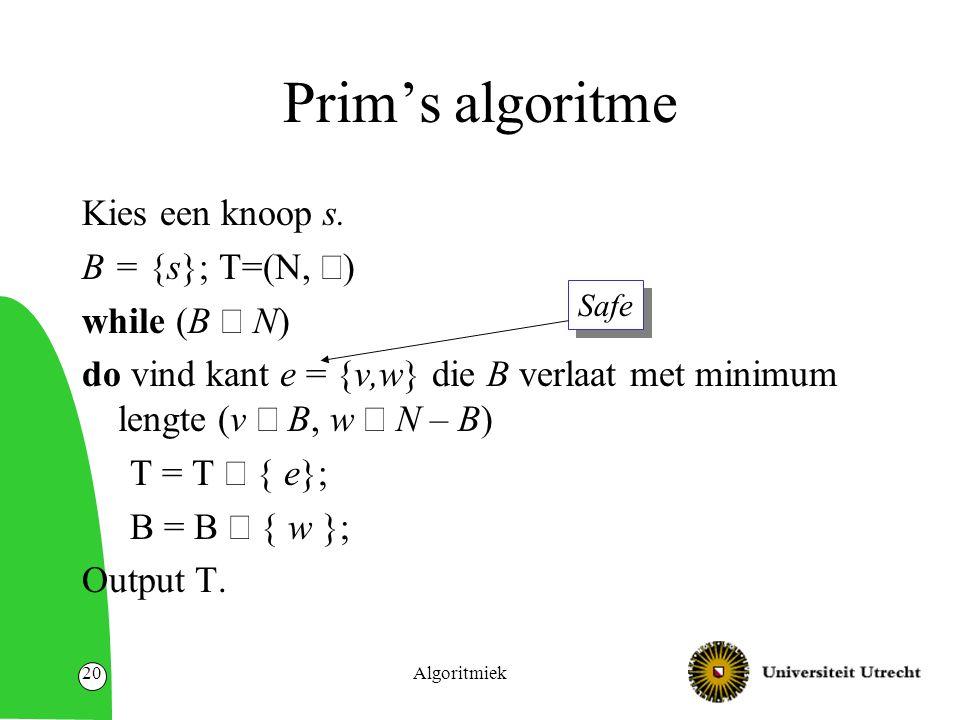 Algoritmiek20 Prim's algoritme Kies een knoop s.