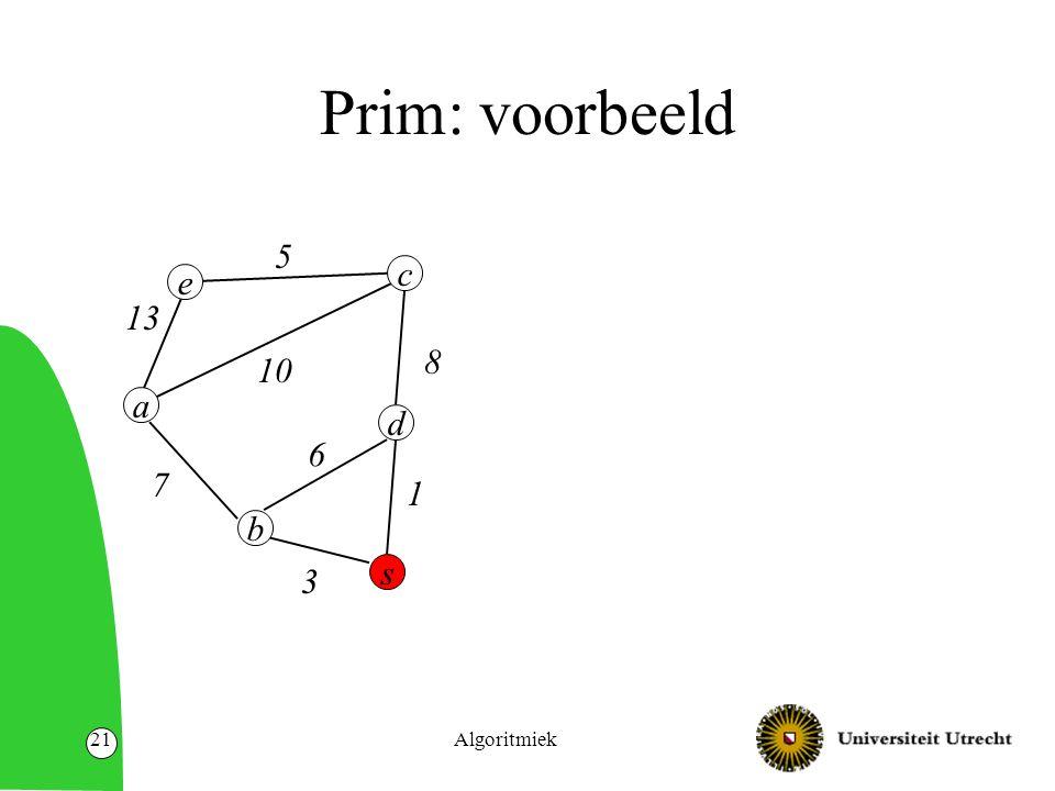 Algoritmiek21 Prim: voorbeeld e d s a b 13 10 7 8 c 6 3 1 5
