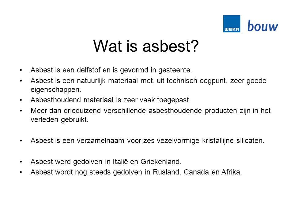 Wat is asbest. Asbest is een delfstof en is gevormd in gesteente.